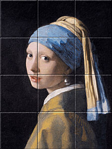 Small image of our reproduction of Girl with a Pearl Earring by Johannes Vermeer on ceramic tiles tableaus