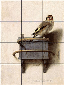 Small image of our reproduction of The Goldfinch by Carel Fabritius on ceramic tiles tableaus