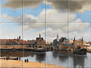Small image of our reproduction of View of Delft by Johannes Vermeer on ceramic tiles tableaus
