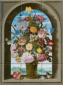 Small image of our reproduction of Vase of Flowers in a Window by Ambrosius Bosschaert de Oude on ceramic tiles tableaus