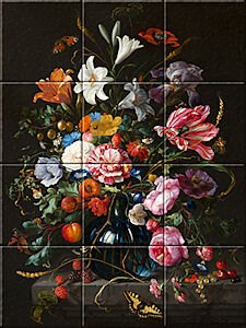 Small image of our reproduction of Vase of Flowers by Jan Davidsz. de Heem on ceramic tiles tableaus