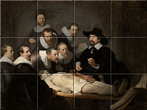 Small image of our reproduction of Anatomy Lesson of Dr. N. Tulp by Rembrandt van Rijn on ceramic tiles tableaus