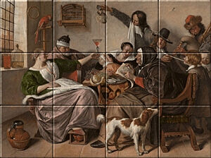 Small image of our reproduction of As the Old Sing, So Pipe the Young by Jan Havicksz. Steen on ceramic tiles tableaus