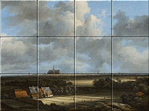 Small image of our reproduction of View of Haarlem with Bleaching Grounds by Jacob van Ruisdael on ceramic tiles tableaus