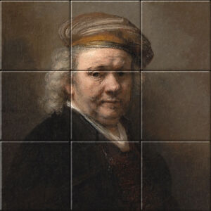Small image of our reproduction of Selfportrait Rembrandt van Rijn by Rembrandt van Rijn on ceramic tiles tableaus