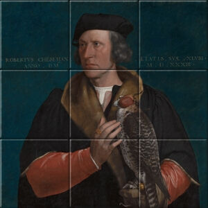 Small image of our reproduction of Portrait of Robert Cheseman by Hans Holbein de Jonge on ceramic tiles tableaus
