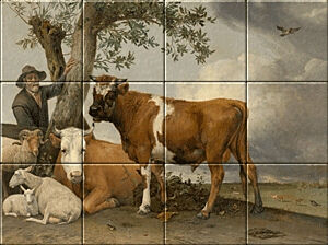 Small image of our reproduction of The Bull by Paulus Potter on ceramic tiles tableaus