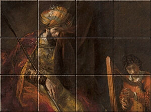 Small image of our reproduction of Saul and David by Rembrandt van Rijn on ceramic tiles tableaus