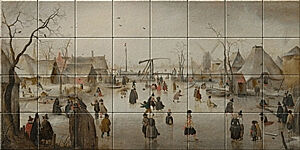 Small image of our reproduction of Ice Scene by Hendrick Avercamp on ceramic tiles tableaus