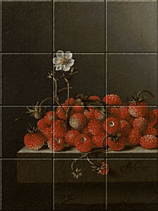 Small image of our reproduction of Still Life with Strawberries by Adriaen Coorte on ceramic tiles tableaus