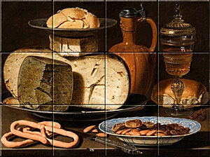 Small image of our reproduction of Still Life with Cheeses, Almonds and Pretzels by Clara Peeters on ceramic tiles tableaus