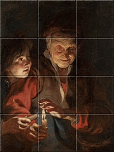 Small image of our reproduction of Old Woman and Boy with Candles by Peter Paul Rubens on ceramic tiles tableaus