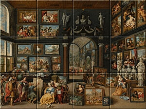 Small image of our reproduction of Apelles Painting Campaspe by Willem van Haecht on ceramic tiles tableaus