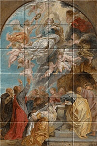 Small image of our reproduction of Modello Assumption of the Virgin by Peter Paul Rubens on ceramic tiles tableaus