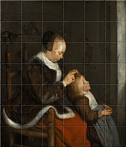 Small image of our reproduction of Hunting for Lice by Gerard ter Borch on ceramic tiles tableaus