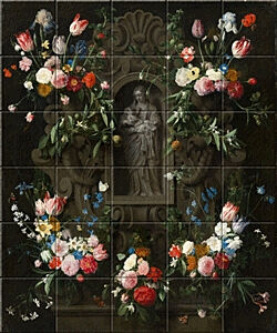 Small image of our reproduction of Garland of Flowers Virgin Mary by Daniel Seghers on ceramic tiles tableaus