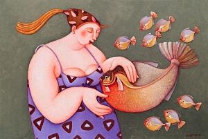 Afbeelding van onze reproductie van Mama vis by Ada Breedveld op canvas, klein