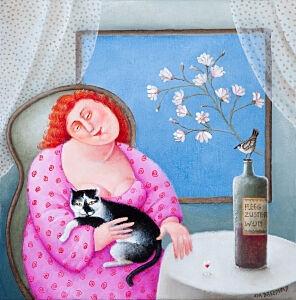 Afbeelding van onze reproductie van Miep staatsieportret by Ada Breedveld op canvas, klein