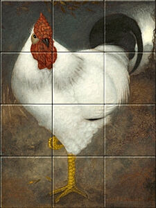 Small image of our reproduction of White Rooster by Jan Mankes on ceramic tiles tableaus