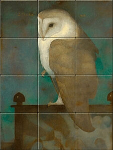 Small image of our reproduction of Big Owl on Screen by Jan Mankes on ceramic tiles tableaus