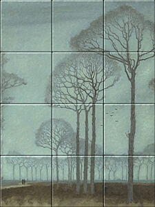 Small image of our reproduction of Row of Trees by Jan Mankes on ceramic tiles tableaus