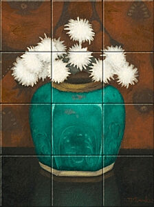 Small image of our reproduction of Ginger Pot with Chrysanthemums by Jan Mankes on ceramic tiles tableaus