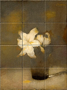 Small image of our reproduction of Glass with Lily by Jan Mankes on ceramic tiles tableaus