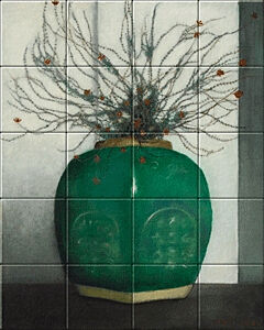 Small image of our reproduction of Ginger Jar with Heather by Jan Mankes on ceramic tiles tableaus