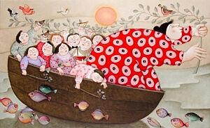 Afbeelding van onze reproductie van Moederschip by Ada Breedveld op canvas, klein
