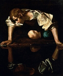 Afbeelding van onze reproductie van Narcissus by Michelangelo Merisi da Caravaggio op canvas, klein