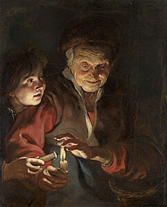 Image of our reproduction of Old Woman and Boy with Candles by Peter Paul Rubens on canvas, small