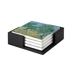 Image of our reproduction of Olive Grove by Vincent van Gogh on ceramic coaster sets, small