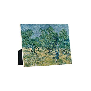 Image of our reproduction of Olive Grove by Vincent van Gogh on ceramic tiles with easelback, small