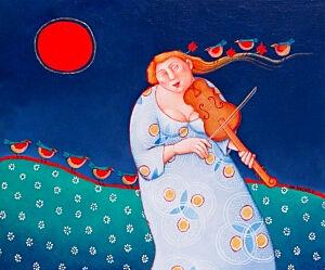 Afbeelding van onze reproductie van Onder de kersen maan by Ada Breedveld op canvas, klein