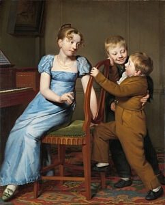 Image of our reproduction of Piano Practice Interrupted by Willem Bartel van der Kooi on canvas, small