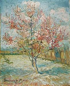 Afbeelding van onze reproductie van Roze perzikbomen (Souvenir de Mauve) by Vincent van Gogh op canvas, klein