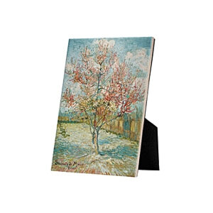 Image of our reproduction of Pink Peach Trees (Souvenir de Mauve) by Vincent van Gogh on ceramic tiles with easelback, small