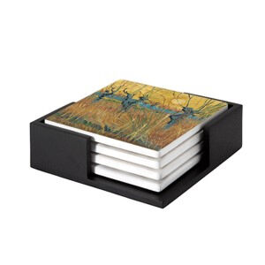 Image of our reproduction of Pollard Willows at Sunset by Vincent van Gogh on ceramic coaster sets, small