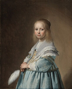 Image of our reproduction of Portrait of a Girl Dressed in Blue by Johannes Cornelisz. Verspronck on canvas, small