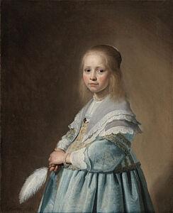 Afbeelding van onze reproductie van Portret van een meisje in het blauw by Johannes Cornelisz. Verspronck op canvas, klein
