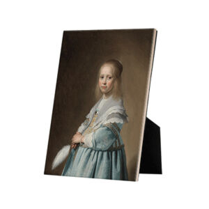 Image of our reproduction of Portrait of a Girl Dressed in Blue by Johannes Cornelisz. Verspronck on ceramic tiles with easelback, small