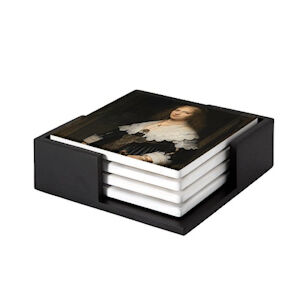 Image of our reproduction of Portrait of a Woman by Rembrandt van Rijn on ceramic coaster sets, small