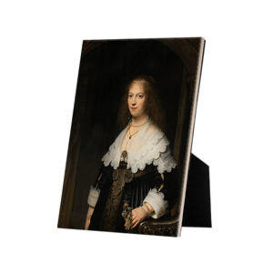 Image of our reproduction of Portrait of a Woman by Rembrandt van Rijn on ceramic tiles with easelback, small