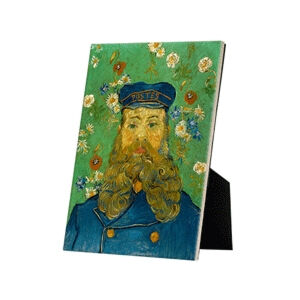 Image of our reproduction of Portrait of Joseph Roulin by Vincent van Gogh on ceramic tiles with easelback, small
