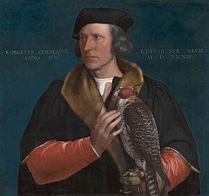 Afbeelding van onze reproductie van Portret van Robert Cheseman by Hans Holbein de Jonge op canvas, klein
