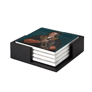 Image of our reproduction of Portrait of Robert Cheseman by Hans Holbein de Jonge on ceramic coaster sets, small