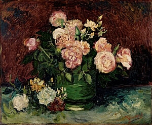 Image of our reproduction of Roses and Peonies by Vincent van Gogh on canvas, small