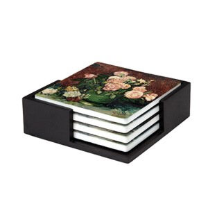Image of our reproduction of Roses and Peonies by Vincent van Gogh on ceramic coaster sets, small