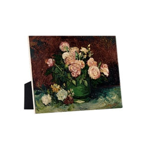 Image of our reproduction of Roses and Peonies by Vincent van Gogh on ceramic tiles with easelback, small