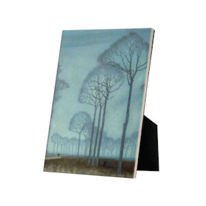 Image of our reproduction of Row of Trees on tile with easelback by Jan Mankes on ceramic tiles with easelback, small